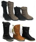 Ladies Kids Girls Womens Flat Heel High Leg Ankle Winter BOOTS Shoe New Styles