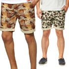 Mens Bellfield Hawaiian Camouflage Print Summer Up Turn Chino Shorts Size