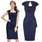Sexy Women Vintage Party&Work 50s Style Cap Sleeve Hollowed Wiggle Pencil Dress
