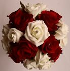 Ivory Red Silk Rose Flower Bride Bridesmaid Wedding Diamante Bouquet Posy