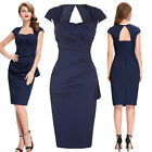 Sexy Womens Ladies Bodycon Slim Wiggle Pinup Vintage Party Pencil Office Dress