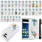 For LG V10 H900 VS990 H901 H968 H961N Crystal Bling HYBRID Case Cover + Pen