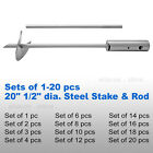 "(1-20 pc) 20"" 1/2"" dia. Heavy Duty Steel 4"" dia. Auger Ground Stake & Rod Silver"