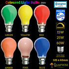 Branded Coloured GLS Light Bulb Lamp 15W 25W 60W ES E27 BC B22 Party Outdoor