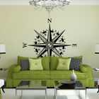 Compass Rose with Fleur de Lis Vinyl Wall or Ceiling Decal - nautical room K641