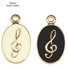 Musical Notes Treble Clef Paved Cooper Jewelry Pendant Charm Gold Plated 6pc