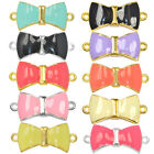 Squared Bow Paved Cooper Crystal Bracelet Connector Charm Gold Plated 6pcs