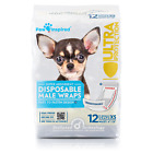 72 /144ct Male Wraps Belly Bands Disposable - Dog Diapers Paw Inspired S M L Bulk