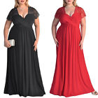 STON Womens V Neck Summer Plus Size Swing Maxi Long Sleeves Dresses