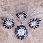 Black Onyx White Topaz Silver Jewelry Sets Earrings Pendant Ring S0428
