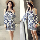 Fashion Women Ladies Cold Shoulder T Shirt Top Womens Spaghetti Straps Mini Dres