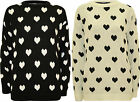 New Womens Love Heart Pattern Long Sleeve Top Ladies Knitted Sweater Jumper 8-14
