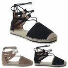 WOMENS LADIES FLAT LOW HEEL ESPADRILLES SANDALS ANKLE LACE UP CUT OUT SHOES SIZE