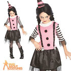 Child Goth Clown Costume Halloween Circus Horror Girls Fancy Dress Outfit New