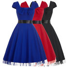 New Ladies 1950's Retro Vintage Bow Swing Cap Sleeve Cocktail Party Flared Dress