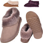 Lambland Ladies Full Sheepskin Slipper Boot with Thick Cuff and Gum Rubber Sole