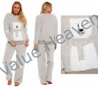 Ladies Snuggle Fleece Pyjamas Twosie Snowman Grey Winter Novelty Xmas Loungewear