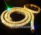 NEW 14k Gold 2 ROW Simulated Clear Diamond Iced Out Chain Necklace bracelet set