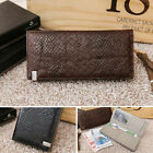 Mens Genuine cow leather snake sikn patterned long wallet checkbook Black, Brown