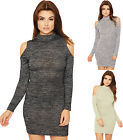 Womens Knitted Bodycon Dress Ladies Stretch High Neck Cut Out Cold Shoulder Top