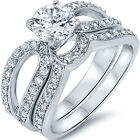 Sterling Silver Solitaire Clear CZ Engagement Wedding Band Ring Set Size 3-11