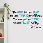 Dr Seuss - The More You Read Quote Nursery Wall Art Vinyl Sticker Decal Mural