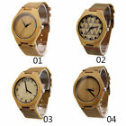 New  Mens Watch Natural Bamboo Wood Case Real Leather Quartz Fashion Waist Watch