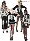 Ladies Sexy Skeleton Fancy Dress Costume Womens Halloween Adult Size 8 10 12 New