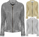 Womens Pleated Bomber Jacket Ladies Ribbed Long Sleeve Zip Crew Neck 8-14