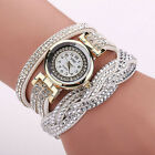 Shine Fashion Women's Watch Crystal Leather Braided Bracelet Quartz Wrist Watch