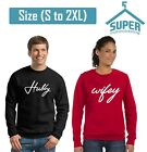 Hubby Wifey Couple CREWNECK Sweatshirt Cute Best Matching Wedding Day (BLACK-RED
