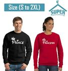 Prince Princess FASHION Couple CREWNECK Sweatshirt Best Couple Sweaters BLCK-RED