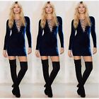 Womens Long Sleeve Lace Up V Neck Plunge Velvet Velour Slim Short Bodycon Dress-