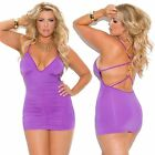 Deep V mini dress w/front & back ruching detail & ring accents!  Plus Sizes!
