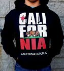 New Unisex Adult CALIFORNIA REPUBLIC BEAR FLAG Black Hoodie pullover S-3XL