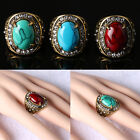 New Women Men Vintage Copper Oval Turquoise Gemstone Crystal Finger Ring Jewelry