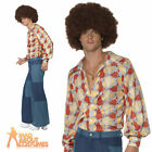 Adult 70s Mens Patchwork Denim Flared Disco Trousers Only Fancy Dress Outfit New