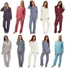Ladies Winceyette Cotton Pyjamas 100% Brushed Flannel Wincy Collar Buttoned NEW!