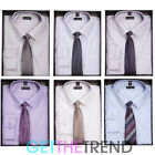 Mens Shirt & Tie Set Mens Formal Work Office Smart Striped Plain Shirt Boxed Set