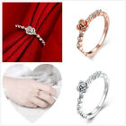 1pcs Fashion Women's Zircon Single Rose Design Jewelry Charms Rings Size 5-7 D