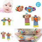 Baby Infant Boy Girl Animal Hand Wrist Bells Foot Sock Rattles Soft Toys Gift LA