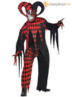 Mens Evil Jester Joker Costume Killer Clown Fancy Dress Costume Halloween Adult