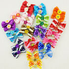 20pcs Multicolor Dog Hair Bows Flowers Rubber Bands Pet Grooming Accessories