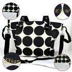 Nappy Diaper Bag Delux Black Dots Design PERSONALISED Changing Bag & Change Mat