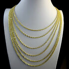 NEW REAL10K YELLOW GOLD DIAMOND CUT HOLLOW ROPE CHAIN NECKLACE 2.5MM 14~24 INCH
