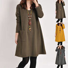 Pregnant Women Long Sleeve V Neck  Pocket Casual Solid Kaftan Cotton Mini Dress