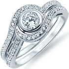 Sterling Silver Round Clear CZ Promise Engagement 2 in 1 Love Set Ring Size 3-11