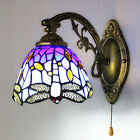 Modern Vintage Tiffany Stained Glass Wall Sconce Wall Light Dragonfly Wall Lamp