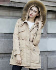 Womens Faux Fur Hooded Parka Winter Warm Thicken Outerwear Belt Slim Coats
