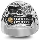 Stainless Steel Oxidized One Eye Pirate Skull w Cigar Clear CZ Ring Size 7-17